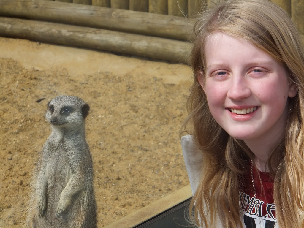 Xene standing next to a meerkat at Africa Alive