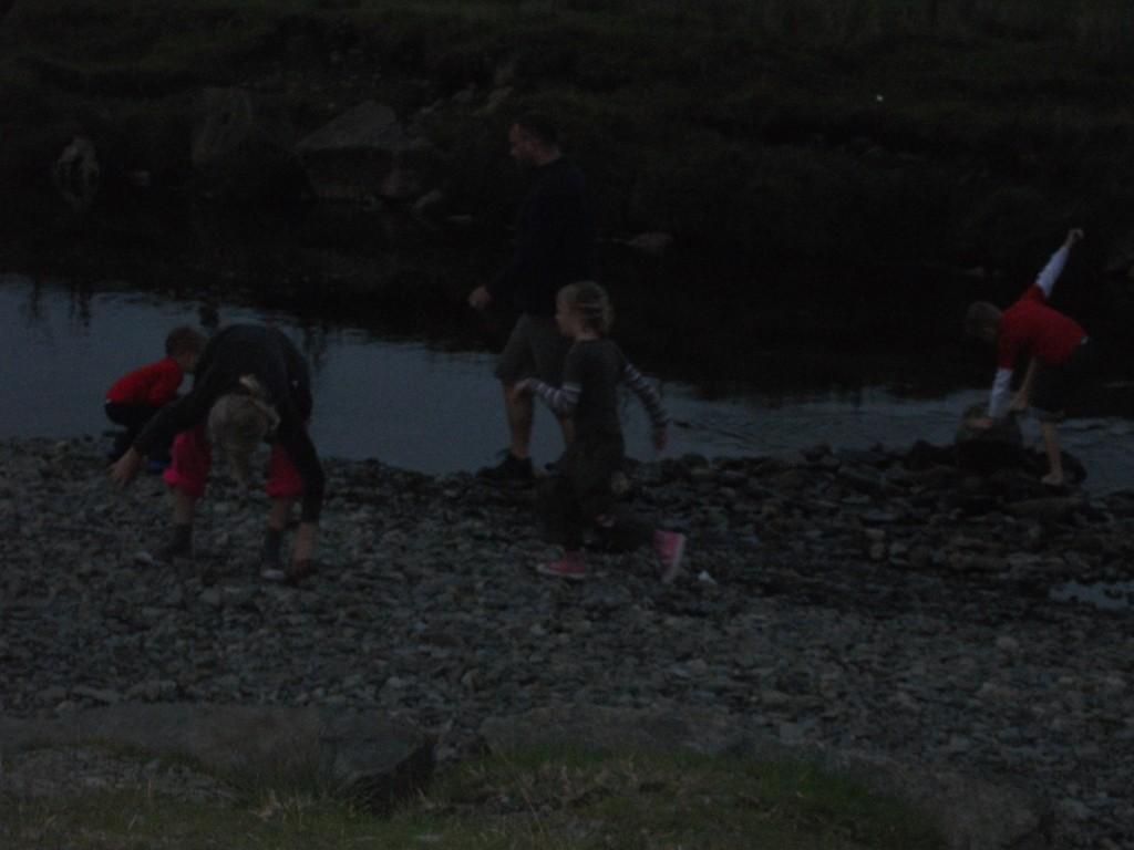building a dam at dusk
