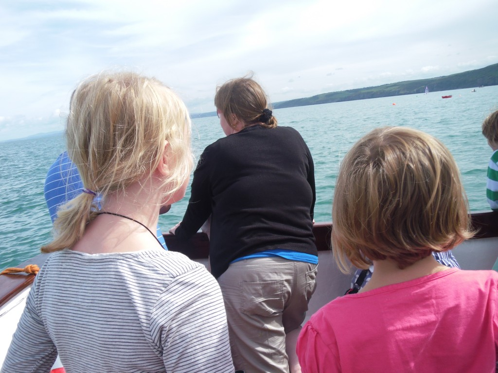Neva and Xene on a boat in Wales