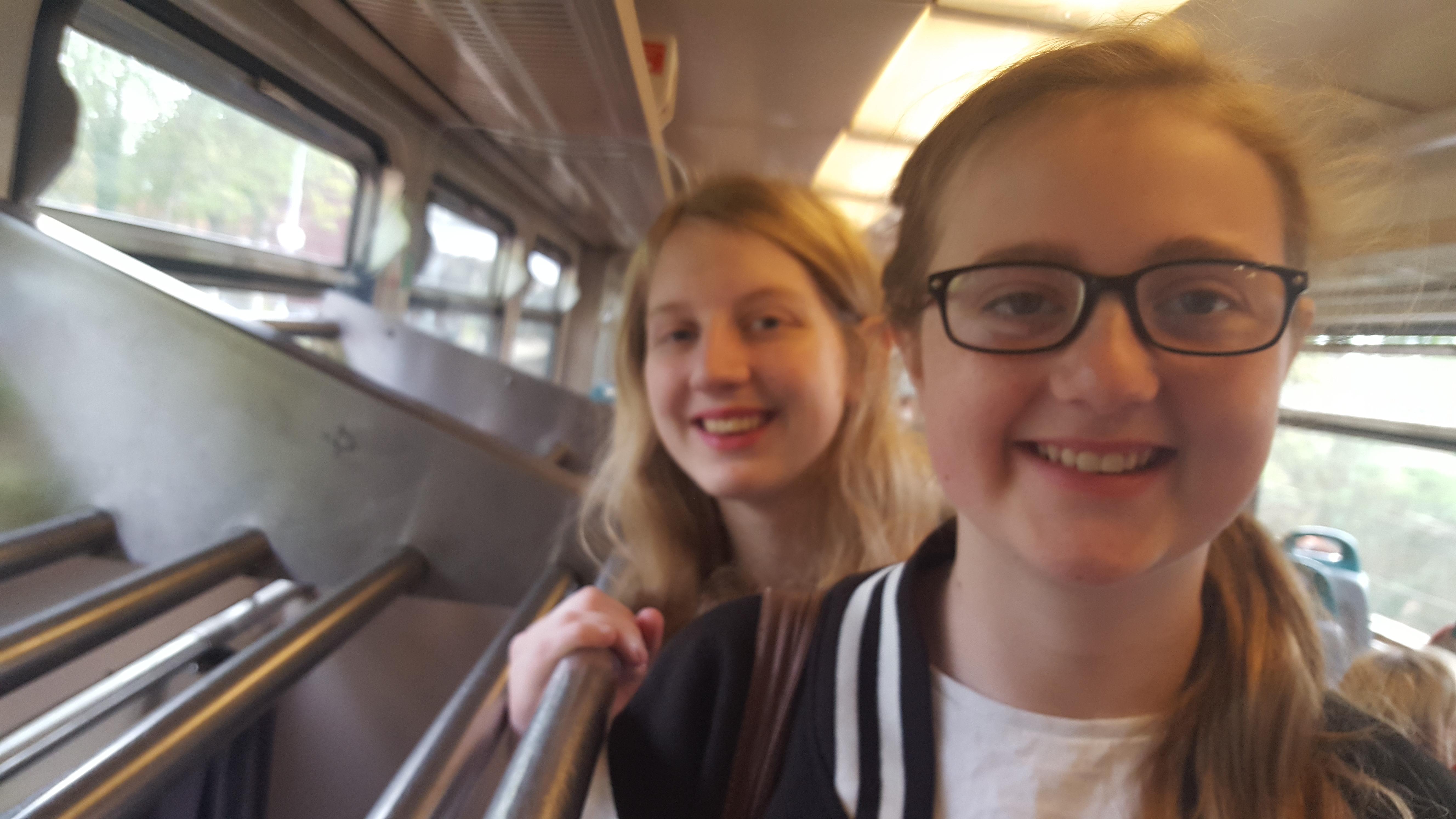 Xene and Neva on a Greater Anglia Train