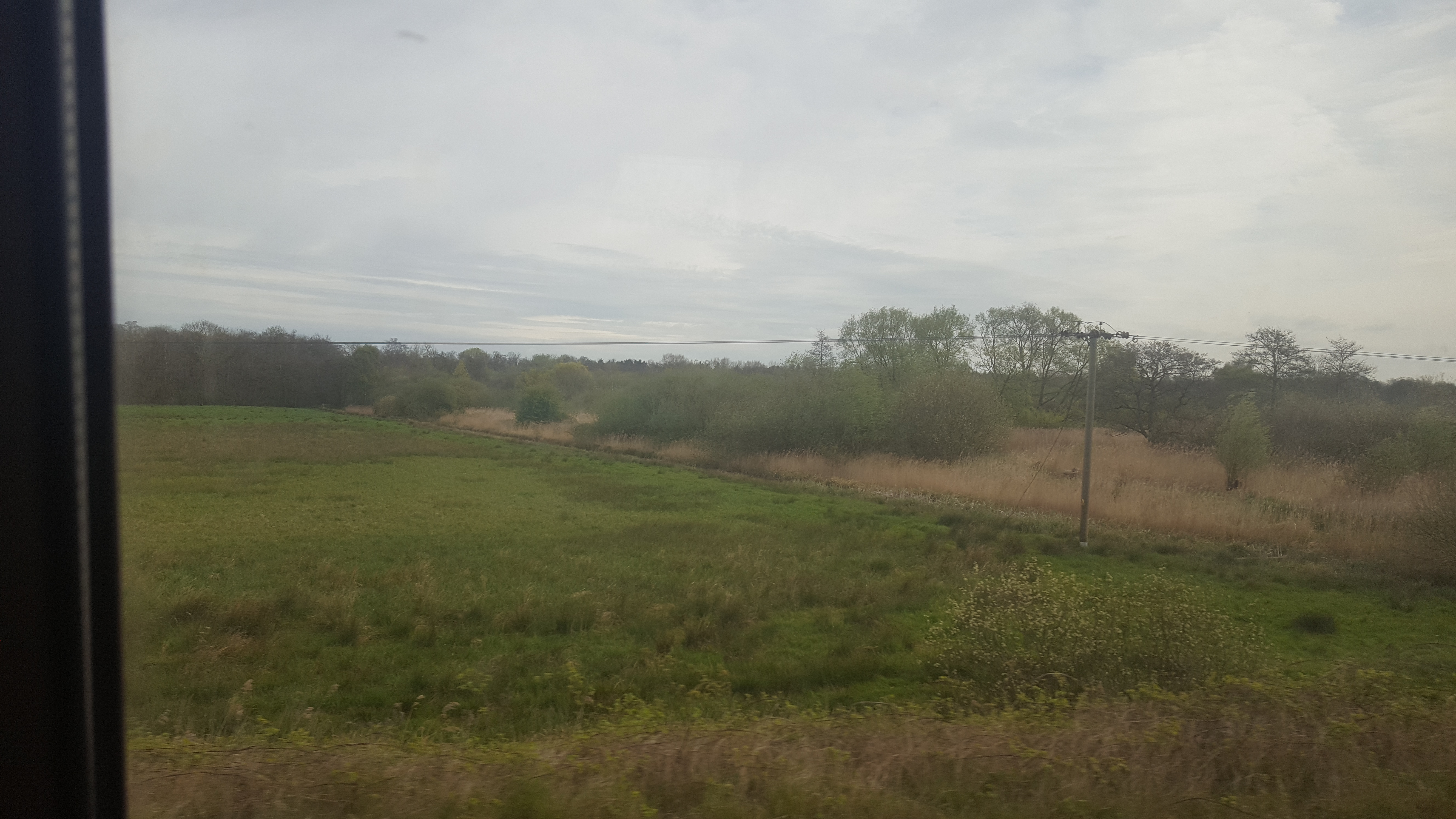View aboard the Greater Anglia train from Norwich to Great Yarmouth