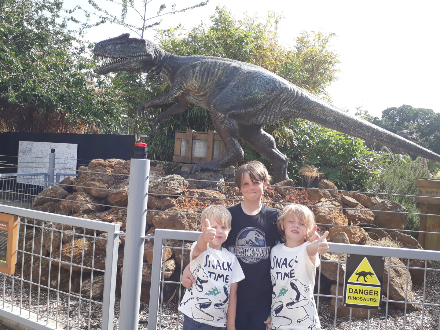 Roarr! Dinosaur Adventure Three very happy boys giving a thumbs up for their amazing day
