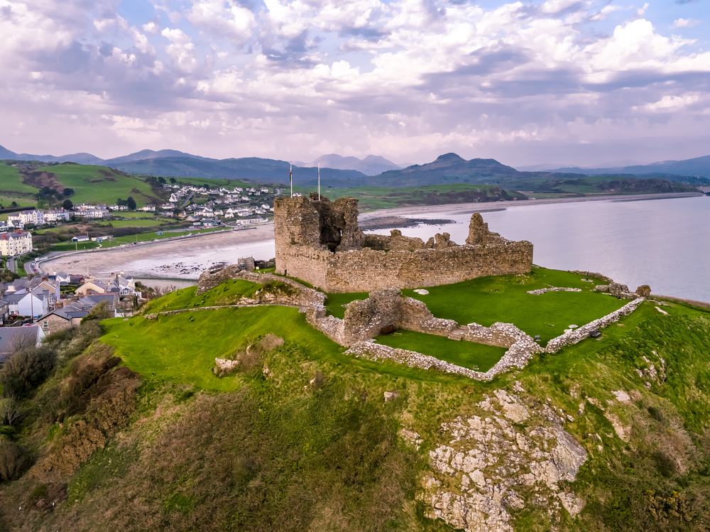 Aerial view of Criccieth Castle at dawn
