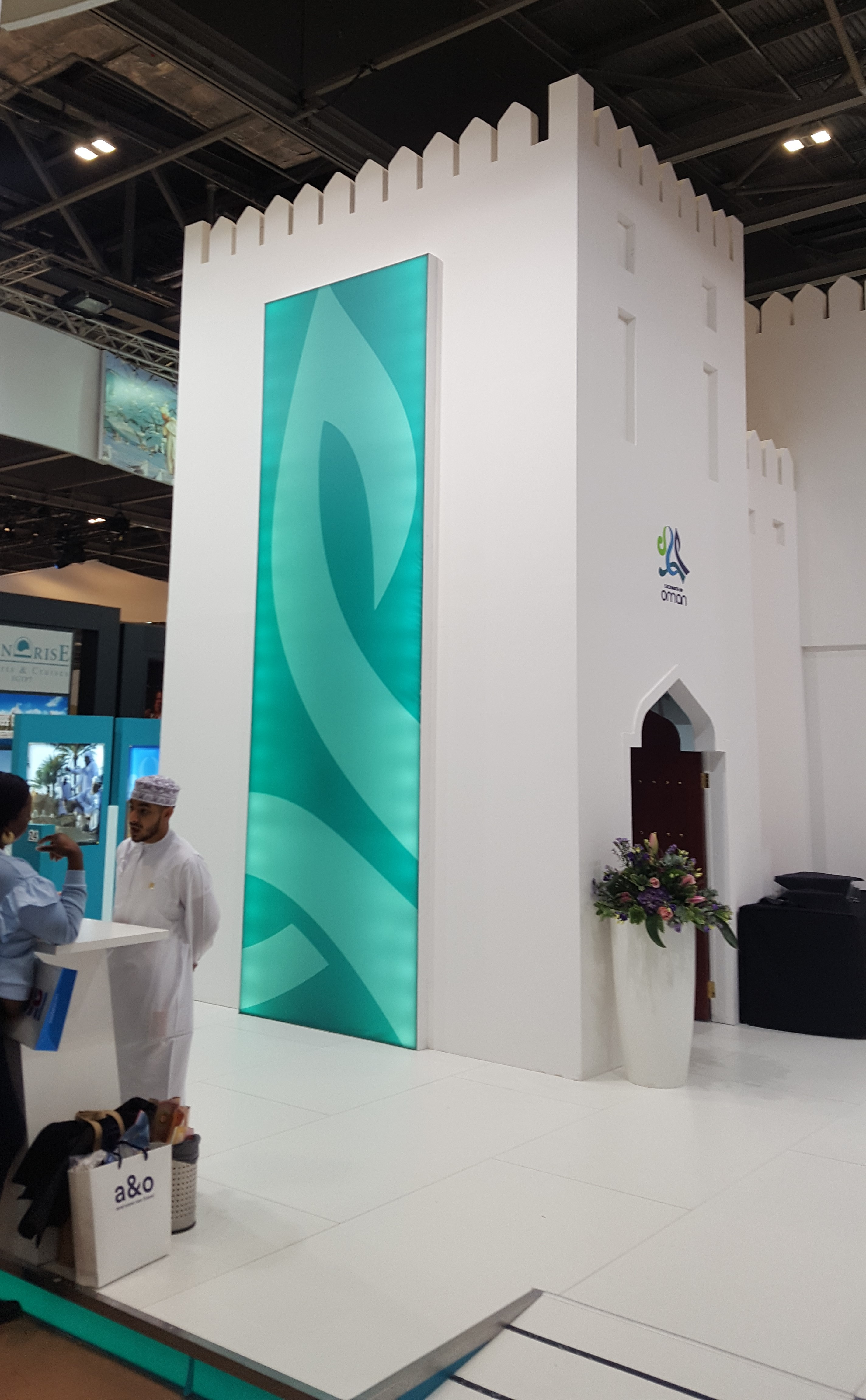 large family holiday destinations can be all over the world, here is a stall promoting Oman