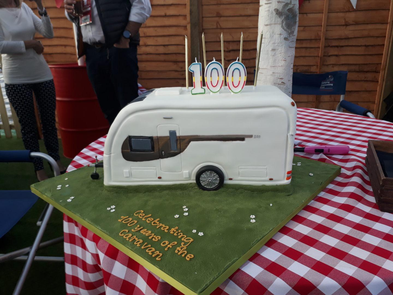 National Camping and Caravanning Week caravan cake celebrating its 100th birthday