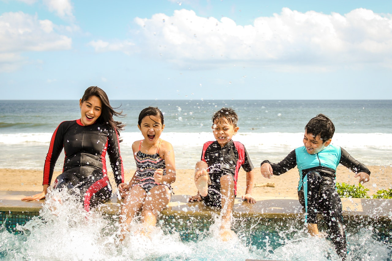 family holidays splashing in the pool
