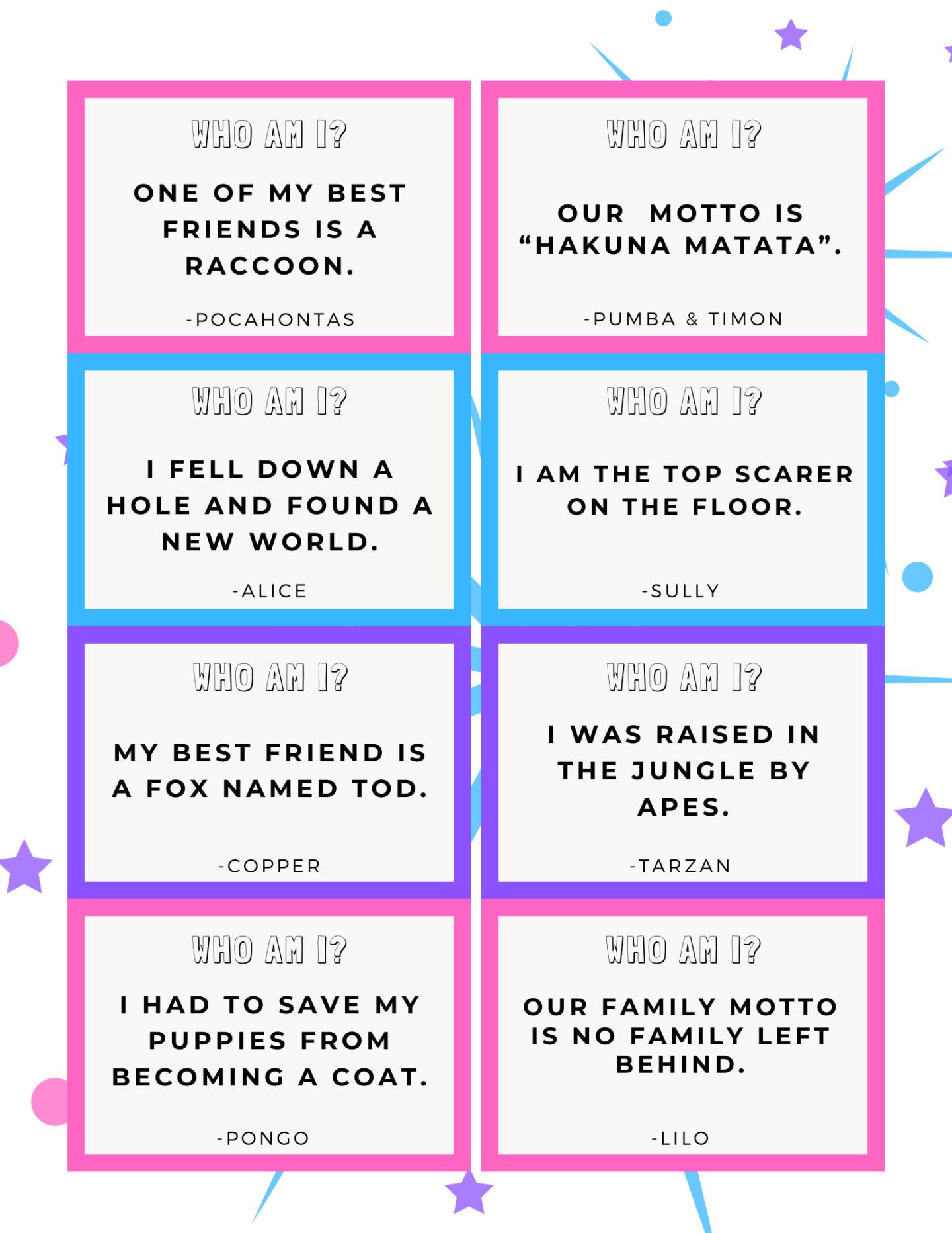 Disney Who Am I Trivia Game